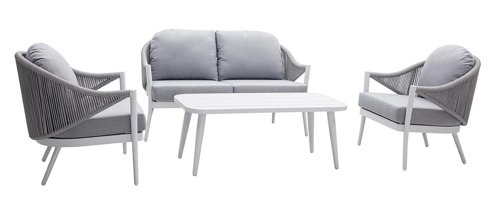 Salon de jardin en aluminium blanc et cordes et tissu gris clair LIMA