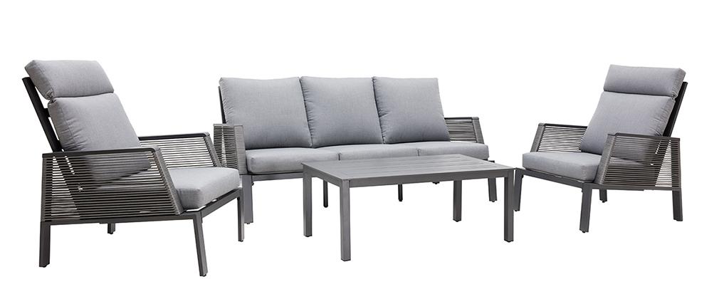 Salon de jardin en aluminium et cordes grises LAGOS
