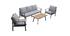 Salon de jardin en aluminium noir, cordes et tissu gris clair USHUAIA