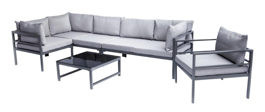 Salon de jardin en métal avec table, canapé d