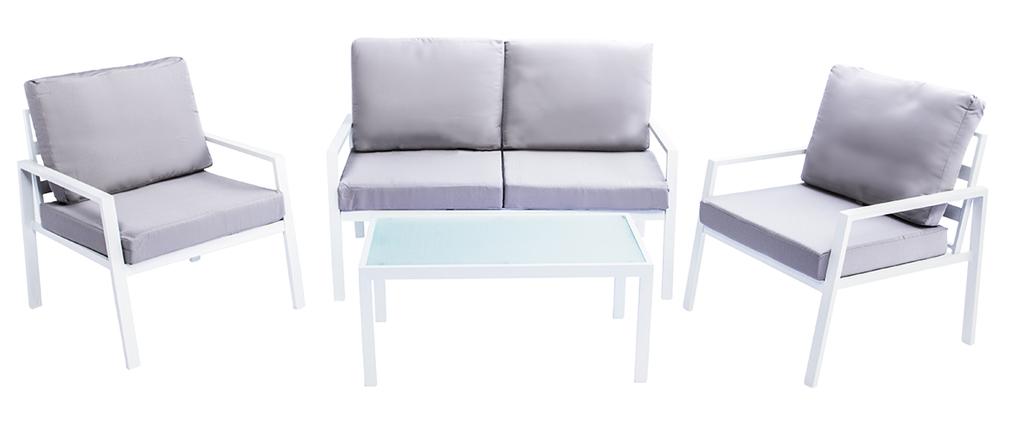 Salon de jardin en métal blanc avec table, banc et 2 fauteuils CALA