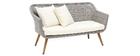 Salon de jardin en résine tressée avec table basse gris et bois AJACCIO