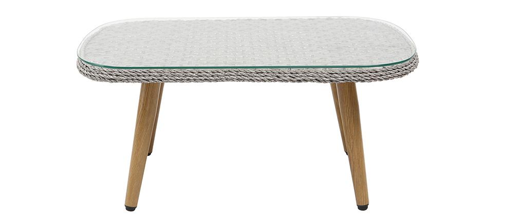 Salon de jardin en résine tressée avec table basse gris et bois ...
