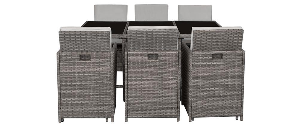 Salon de jardin en résine tressée avec table et 6 fauteuils gris ...