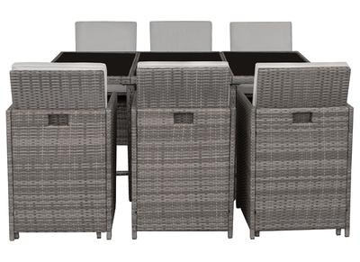 Salon de jardin en résine tressée avec table et 6 fauteuils gris DALIAS
