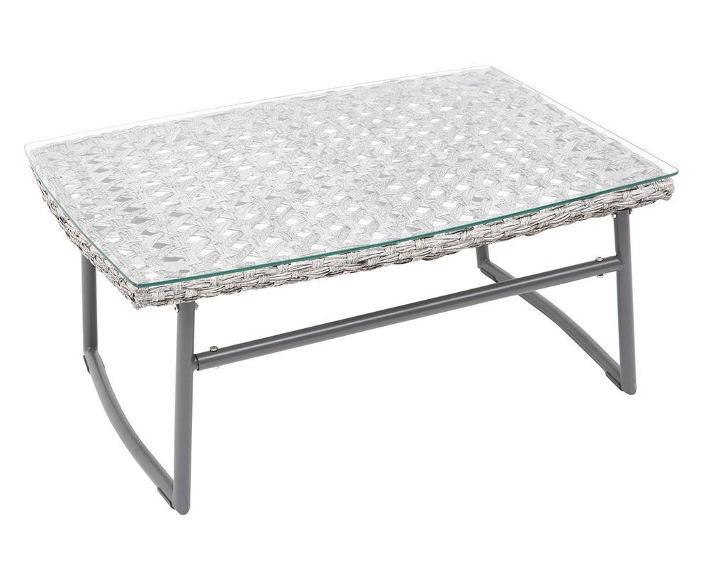 Salon de jardin en résine tressée gris avec table basse ...