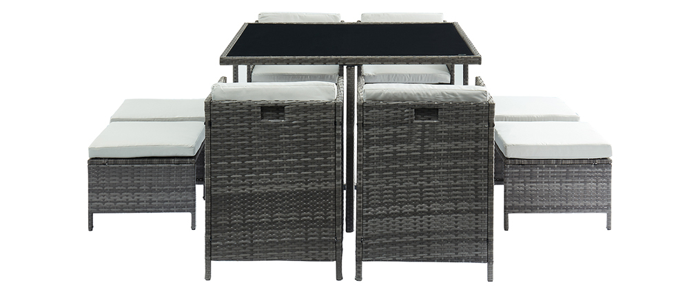 Salon de jardin en résine tressée grise avec table, fauteuils et poufs CORDOBA