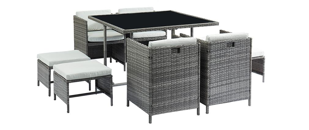 Salon de jardin en résine tressée grise avec table, fauteuils et ...