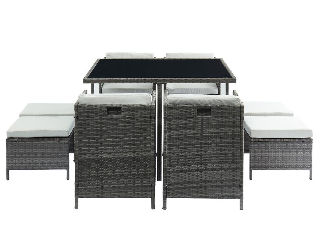 Salon de jardin en résine tressée grise avec table ...