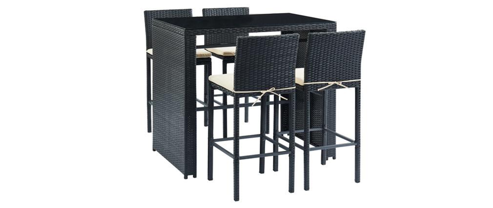Salon Tressée Et 4 Résine Noire De En Jardin Avec Bar Table LSMpUGjqzV