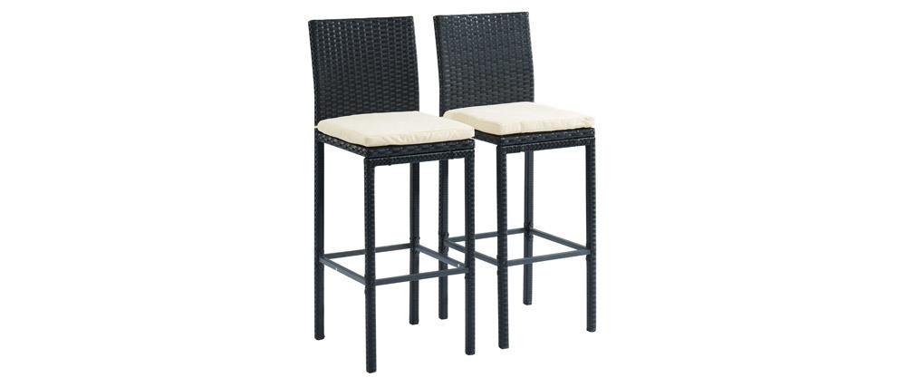 Salon de jardin en résine tressée noire avec table de bar et 4 ...