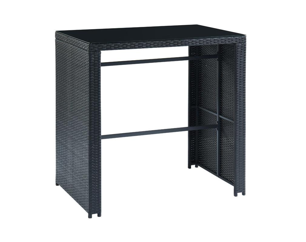 Salon de jardin en résine tressée noire avec table de bar et ...