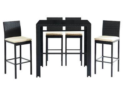 Salon de jardin en résine tressée noire avec table de bar et 4 chaises JAVEA