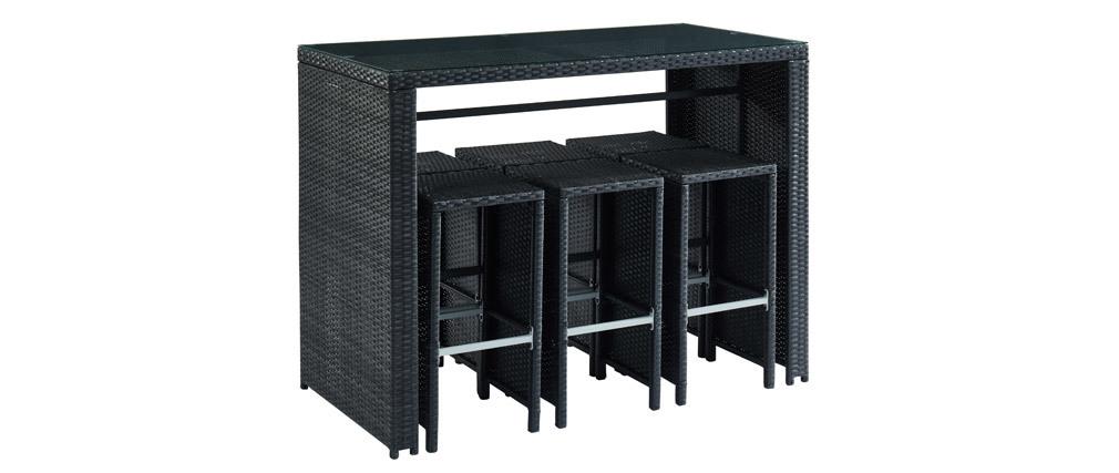 Salon de jardin en résine tressée noire avec table et 6 chaises hautes CANCUN