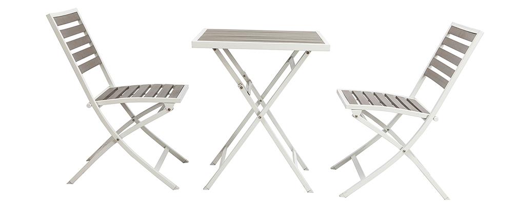 Salon de jardin pliable avec table et 2 chaises blanc et gris MOJITO ...