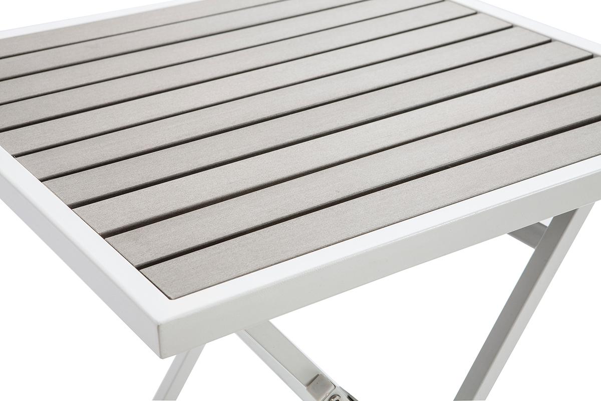 Salon De Jardin Pliable Avec Table Et 2 Chaises Blanc Et