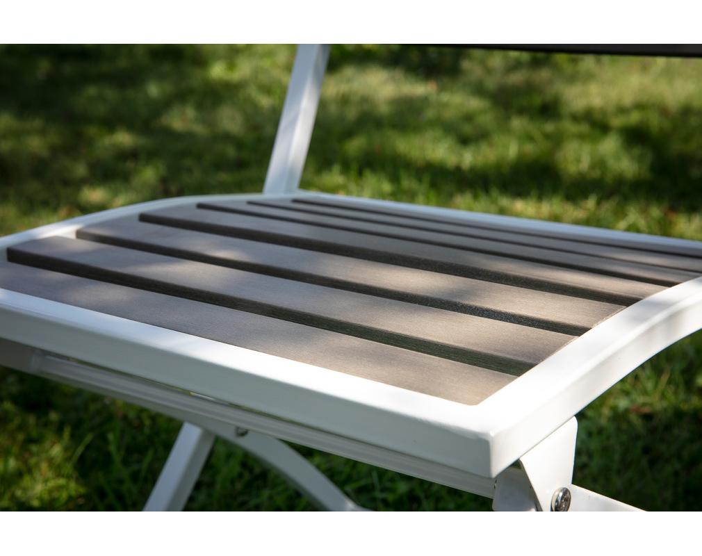 Salon de jardin pliable avec table et 2 chaises blanc et ...