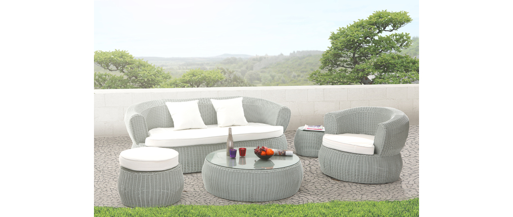 salon de jardin r sine tress e complet gris grenadines miliboo. Black Bedroom Furniture Sets. Home Design Ideas
