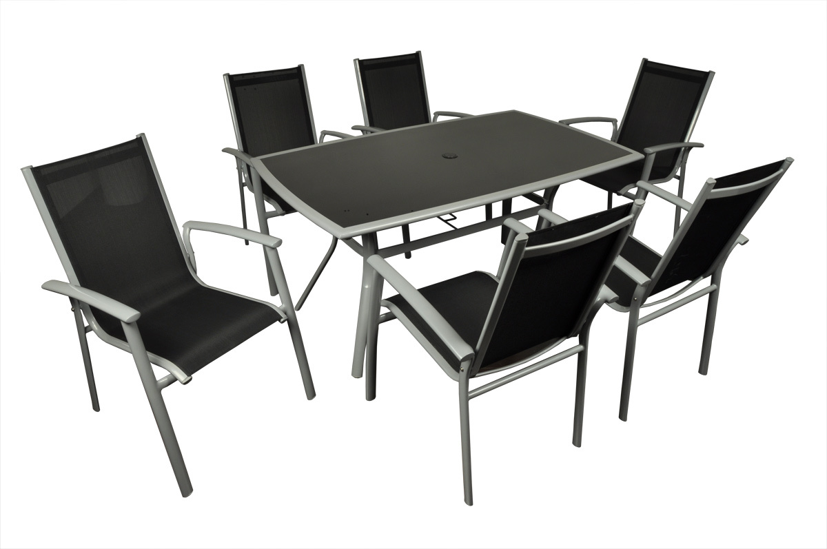 salon de jardin table et 6 chaises gris et noir domusa miliboo. Black Bedroom Furniture Sets. Home Design Ideas