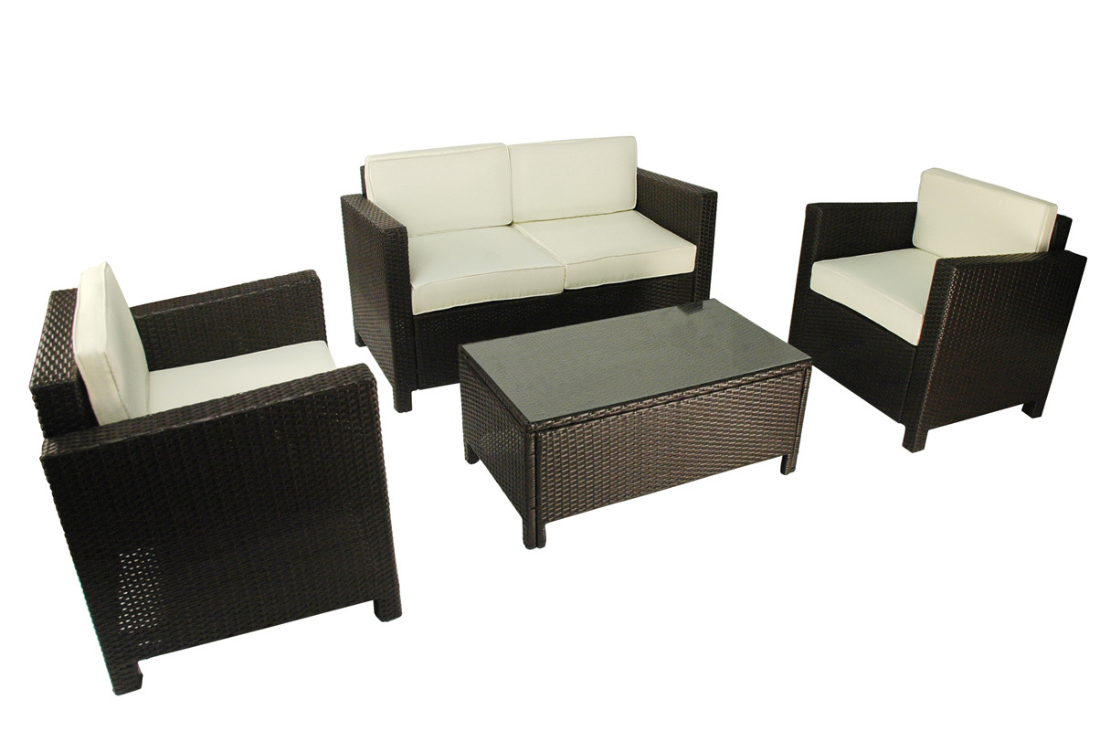 Salon De Jardin Tahiti 2 Fauteuils 1 Canap 2 Places 1 Table Basse Miliboo