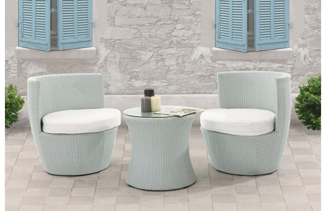 Salon de jardin totem r sine tress e table et chaises gris for Table et chaises de jardin en resine tressee