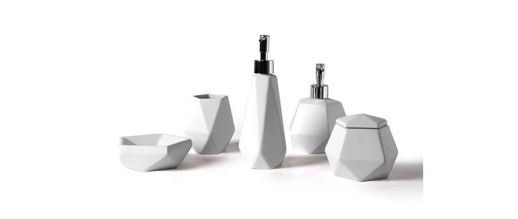 Set daccessoires de salle de bain design céramique blanc CUBIC ( Ce ...