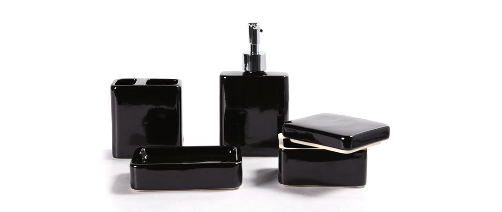 Set d 39 accessoires de salle de bain design c ramique noir djerba miliboo for Set salle de bain design