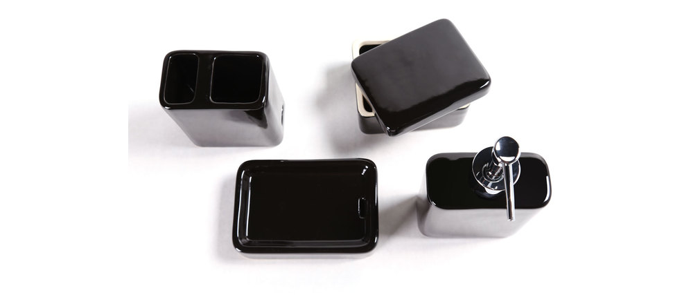 Set d 39 accessoires de salle de bain design c ramique noir djerba miliboo - Accessoire salle de bain noir ...