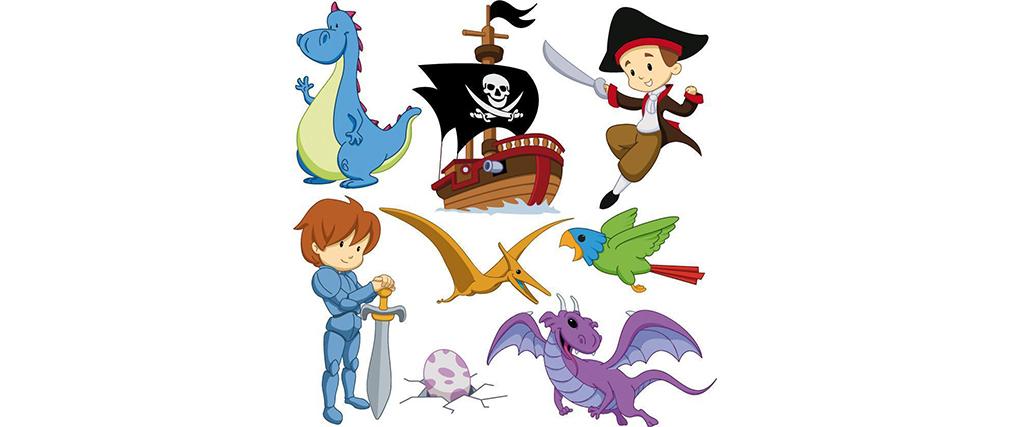 Stickers prince et pirate 30x30cm