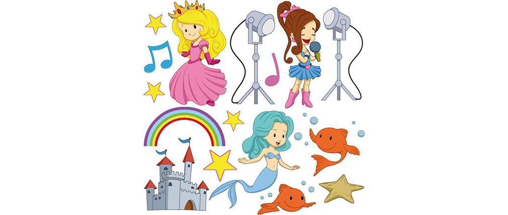 Stickers princesse et sirène 30x30cm