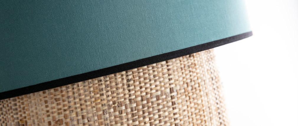 Suspension bimatière jute et tissu bleu grisé D40 cm CHILL