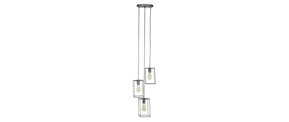Suspension design 3 lampes en métal finition argent ancien ARCHI
