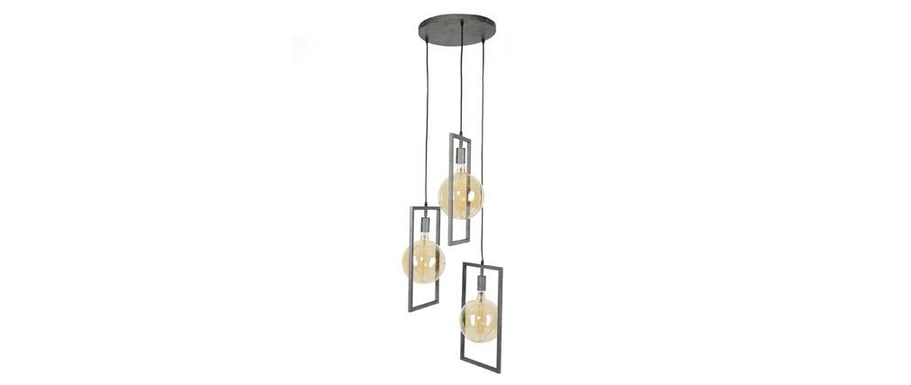 Suspension design 3 lampes finition argent vieilli  DIYA