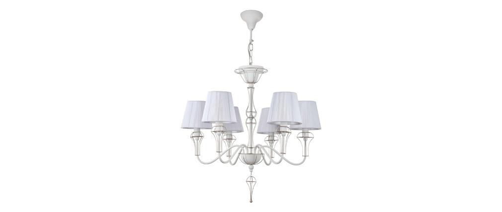 Suspension design 6 lampes avec métal doré et abat-jour en nylon blanc FRAME