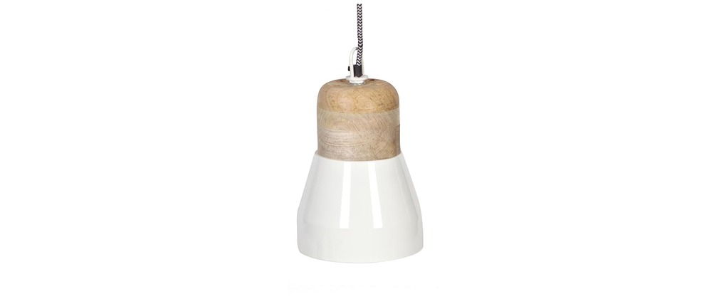 Suspension design bois et métal blanc 16cm BOREAL Miliboo # Suspension Design Bois