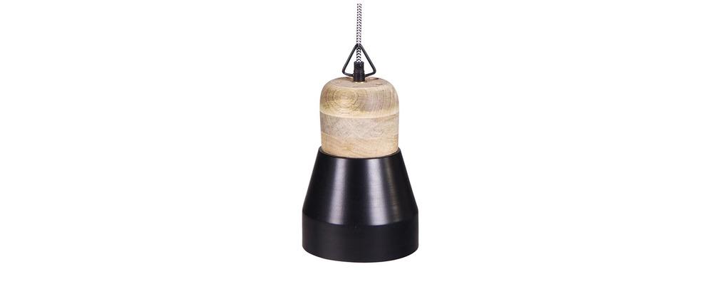 Suspension design bois et métal noir 16cm BOREAL