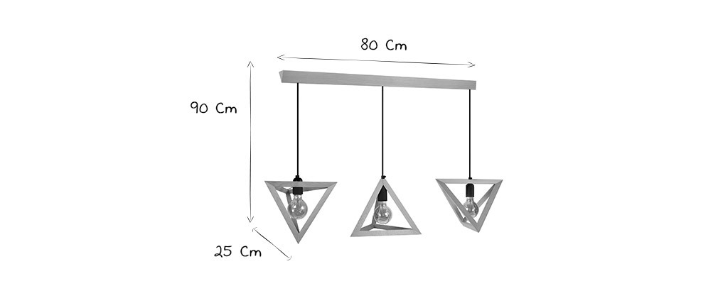Suspension design en bois 3 lampes DUNE