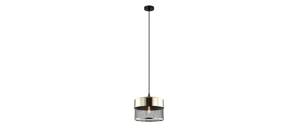 Suspension design en métal doré et noir RING