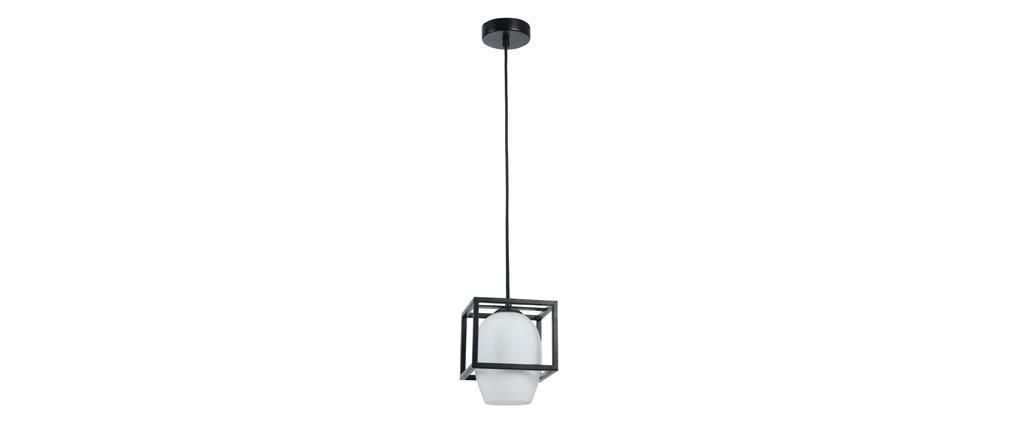 Suspension design métal noir et globe verre dépoli CABIN