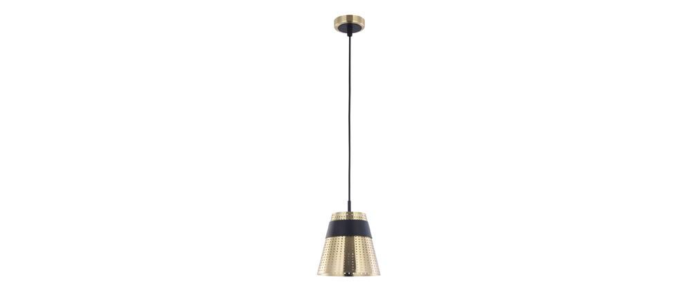 Suspension design métal perforé doré et noir TRENTO