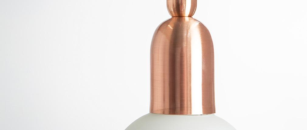 Suspension design métal rose doré et globe verre BULB