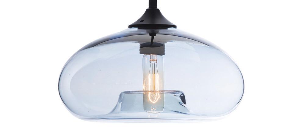 Suspension design verre soufflé transparent bleu MISTIC