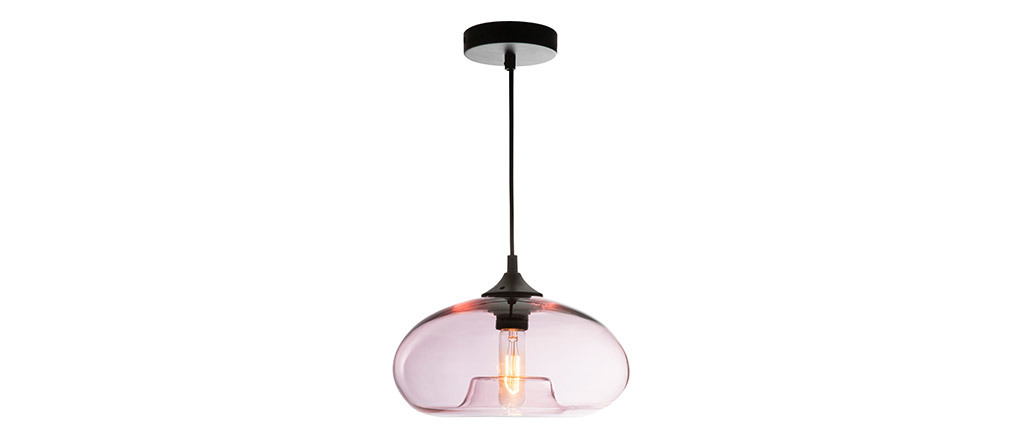 Suspension design verre soufflé transparent rose MISTIC