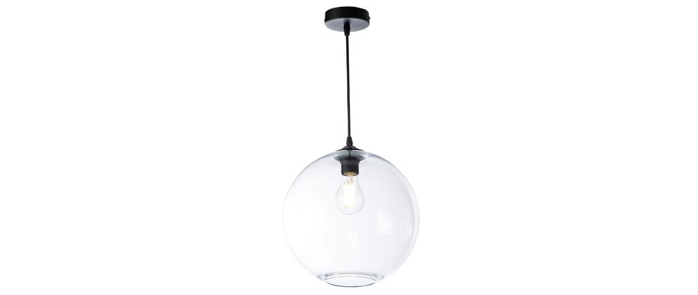 Suspension globe en verre transparent D30 cm DUNA