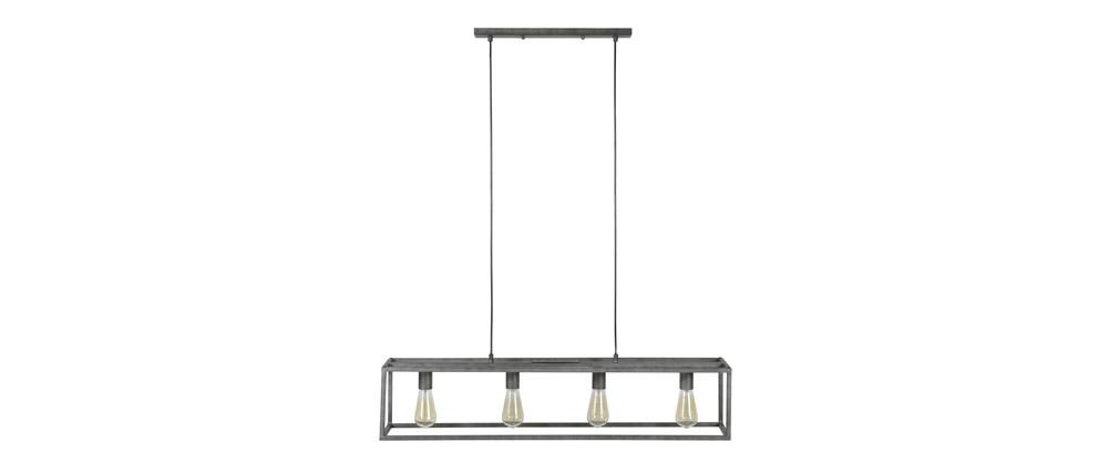 Suspension industrielle 4 lampes en métal vieilli QUATRO