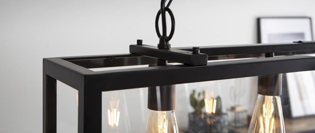 Suspension industrielle 4 lampes métal noir verre GALERIA