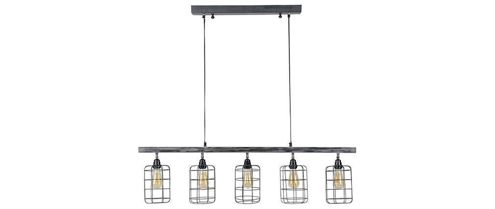 Suspension industrielle 5 lampes en métal gris LOFT