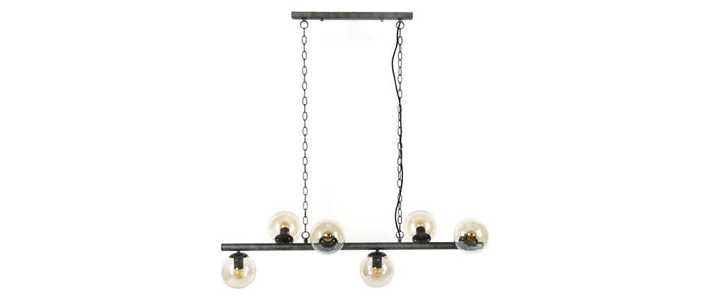 Suspension industrielle 6 lampes en métal vieilli BLOW