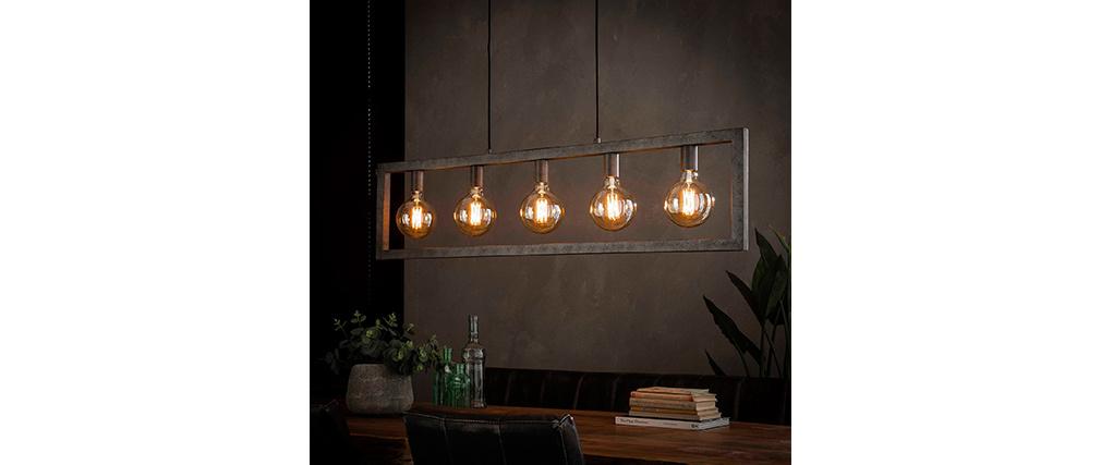 Suspension industrielle argent vieilli 5 lampes LIDO