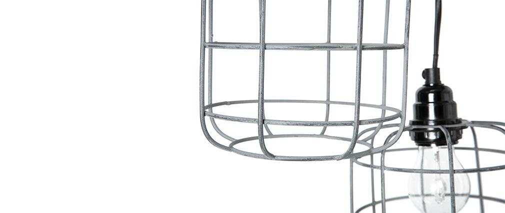 Suspension industrielle en métal gris avec 5 lampes étagées LOFT